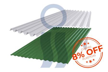 Chapa plástica ondulada verde y opaca